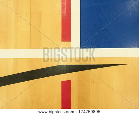 White, Black Red Lines, Blue Playfield In Sports Hall.
