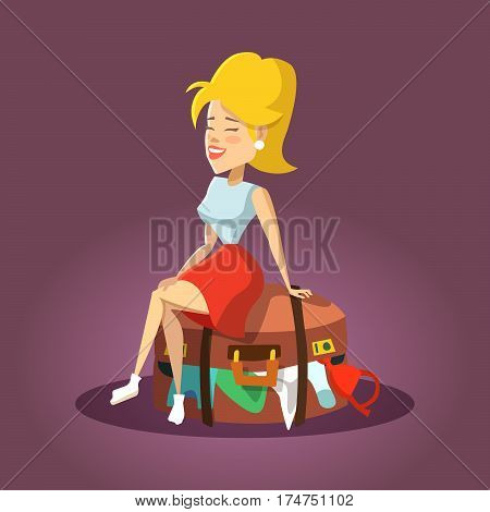 Young Beautiful Woman Sitting on Overflowed Suitcase. Cartoon Tourist Girl. Vector illustration