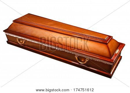 an ornate mahogany coffin casket with brass handles, with clipping path