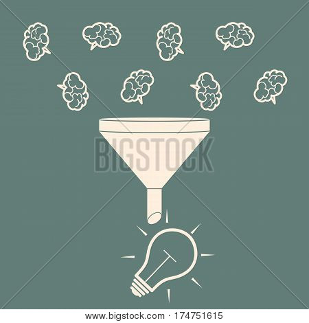 Sales Funnel. Converting brains into bulb idea. Flat Style. Vector Illustration of Data Tunnel and Creative Process.