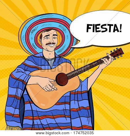 Pop Art Smiling Mariachi in Poncho and Sombrero with Guitar. Vector illustration