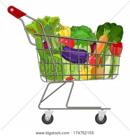 Full supermarket shopping cart with different healthy food. Supermarket shopping basket with vegetables . vector illustration in flat style.