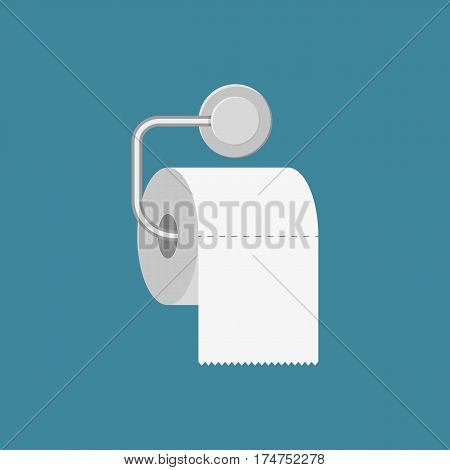 Toilet paper roll with metal holder. illustration in flat style