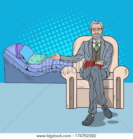 Pop Art Psychotherapy Visit with Senior Psychotherapist. Vector illustration