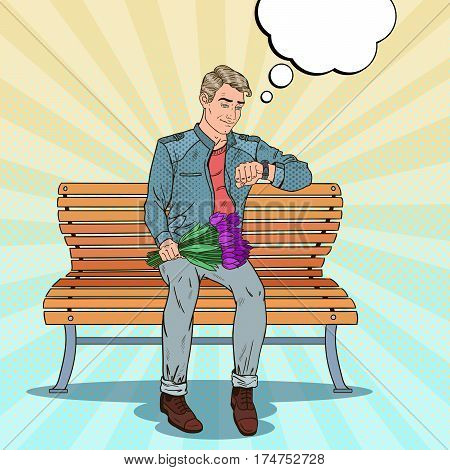 Pop Art Alone Man with Bouquet of Flowers Waiting for Girlfriend. Vector illustration