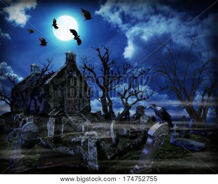 3D illustration of a halloween design background with spooky graveyard naked trees graves and bats.