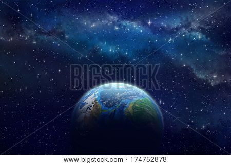 Illuminated face of a planet shining in universe infinite space behind - 3D illustration