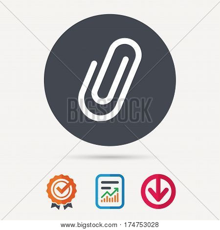 Attachment icon. Paper clip symbol. Report document, award medal with tick and new tag signs. Colored flat web icons. Vector