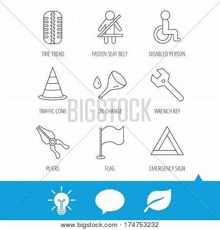 Tire tread, traffic cone and wrench key icons. Emergency triangle, flag and pliers linear signs. Disabled person icons. Light bulb, speech bubble and leaf web icons. Vector