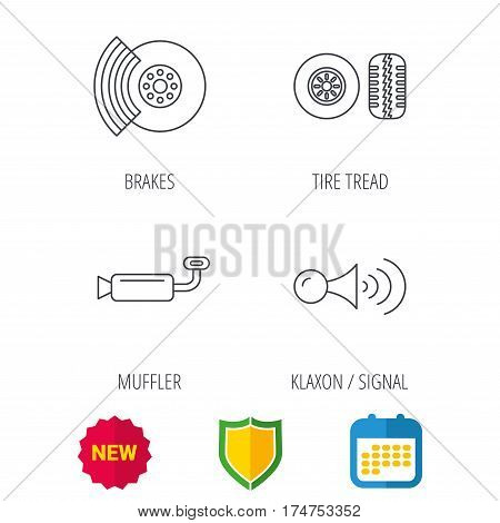 Tire tread, brakes and steering wheel icons. Muffler, klaxon signal linear signs. Shield protection, calendar and new tag web icons. Vector