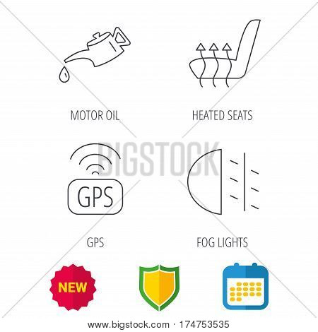 Motor oil, passing fog lights and gps icons. Heated seats linear sign. Shield protection, calendar and new tag web icons. Vector