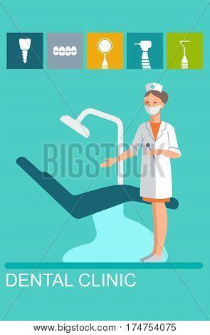 Vector dentist nurse in the dental office flat illustration