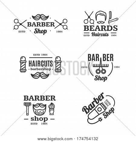 Barber Shop Emblems Set Shaving and Grooming Services Vintage Design Style for Web. Vector illustration