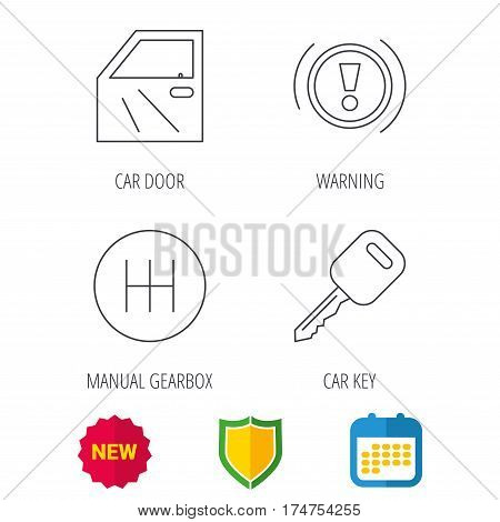 Car key, warning and manual gearbox icons. Car door, transmission linear signs. Shield protection, calendar and new tag web icons. Vector