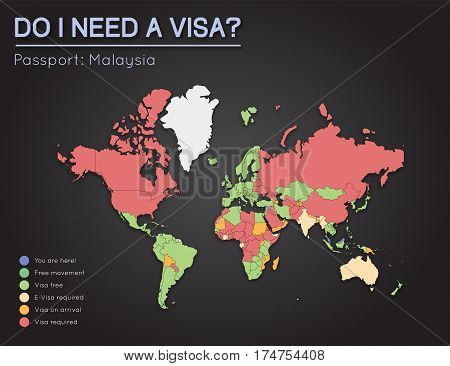 Visas Information For Malaysia Passport Holders. Year 2017. World Map Infographics Showing Visa Requ