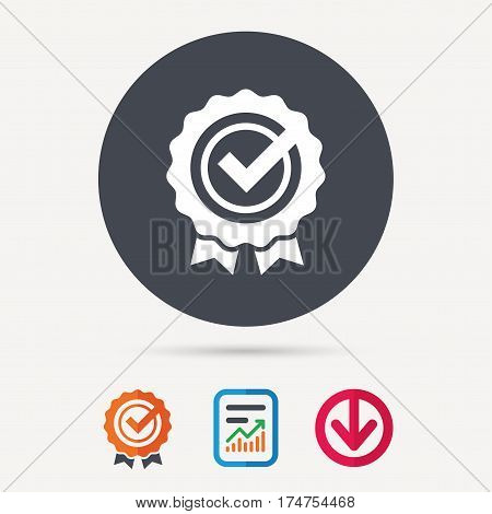 Award medal icon. Winner emblem with tick symbol. Report document, award medal with tick and new tag signs. Colored flat web icons. Vector