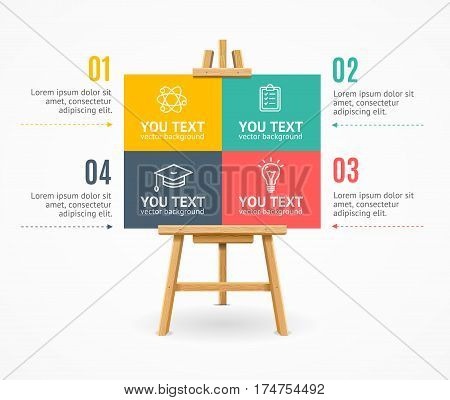 Wooden Easel Menu Infographic Option Banner Card. Concept Of Business Education and Knowledge Vector illustration