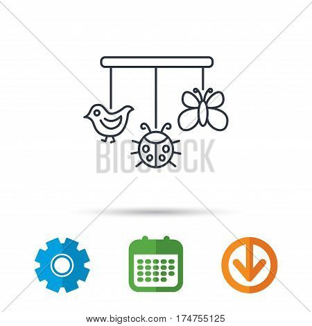 Baby toys icon. Butterfly, ladybug and bird sign. Entertainment for newborn symbol. Calendar, cogwheel and download arrow signs. Colored flat web icons. Vector
