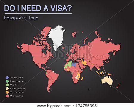 Visas Information For Libya Passport Holders. Year 2017. World Map Infographics Showing Visa Require