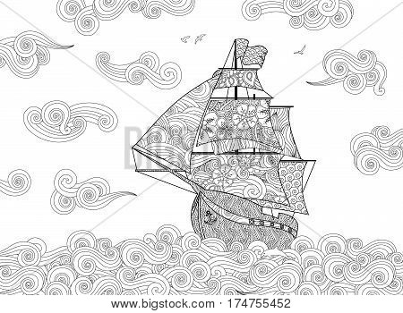 Contour image of sailing ship on the wave in zentangle inspired doodle style. Horizontal composition. Coloring book, antistress page for adult and children. Vector illustration.