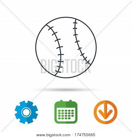 Baseball equipment icon. Sport ball sign. Team game symbol. Calendar, cogwheel and download arrow signs. Colored flat web icons. Vector