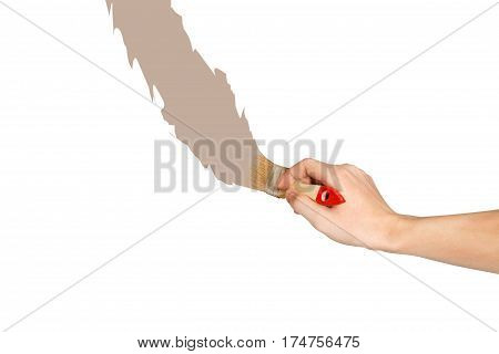 Hand With Paintbrush Brown Line Painting. Isolated On White Background.