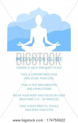 Woman meditating. Silhouette of a human figure in the lotus position. Guide to Meditation