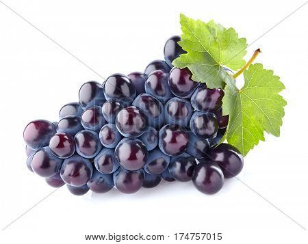 Grapes with leaves on a white background