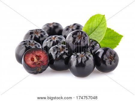 Chokeberry with leaf.Black aronia.