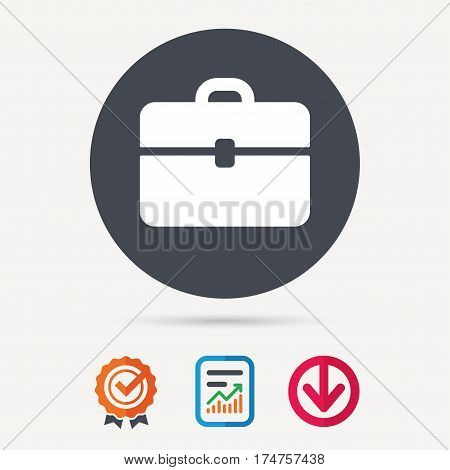 Briefcase icon. Diplomat handbag symbol. Business case sign. Report document, award medal with tick and new tag signs. Colored flat web icons. Vector