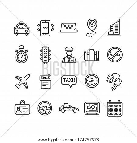 Taxi Services Icon Thin Line Set for Web and App. Vector illustration