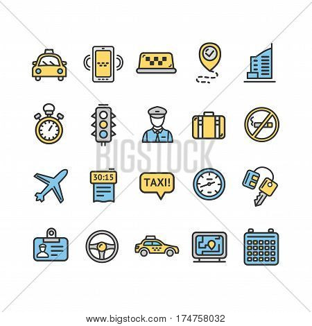 Taxi Services Color Icon Thin Line Set. Vector illustration