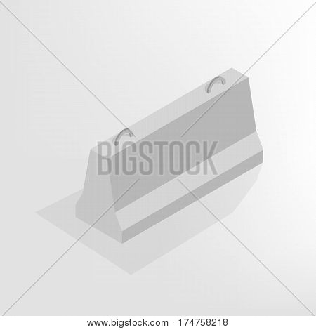 Iron concrete block for barriers with a markup isolated on white background. Design elements for reconstruction. Flat 3D isometric style vector illustration.