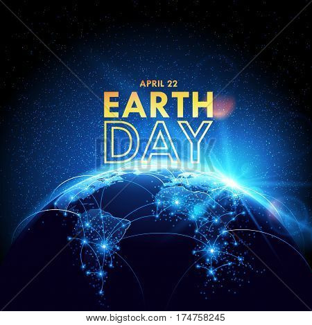 Planet earth with sunrise in space. Earth Day. Vector illustration