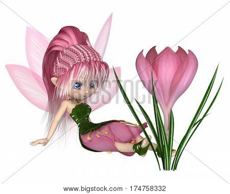 Cute toon fairy in leaf and pink petal dress sitting next to a spring crocus flower, digital illustration (3d rendering)