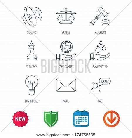 Strategy, auction and scales of justice icons. Save planet, water and lamp lightbulb linear signs. Faq and law hammer flat line icons. New tag, shield and calendar web icons. Download arrow. Vector