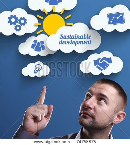 Business, Technology, Internet And Marketing. Young Businessman Thinking About: Sustainable Developm