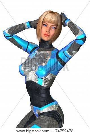 3D Illustration of a female cyborg isolated on white background