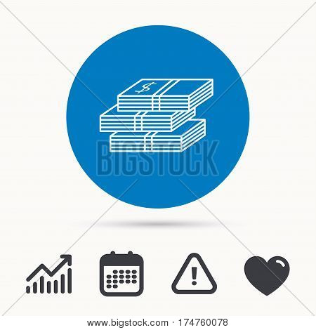 Cash icon. Dollar money sign. USD currency symbol. 3 wads of money. Calendar, attention sign and growth chart. Button with web icon. Vector