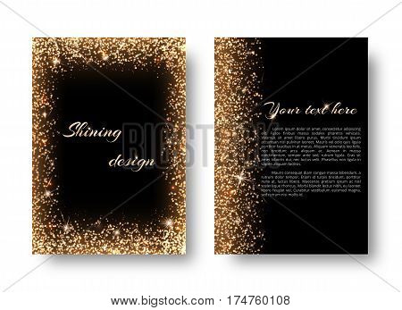Glimmer background with golden light. Shine bright on a black backdrop.