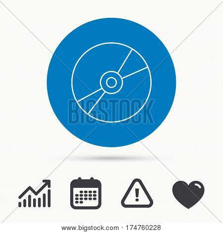 CD or DVD icon. Multimedia sign. Calendar, attention sign and growth chart. Button with web icon. Vector