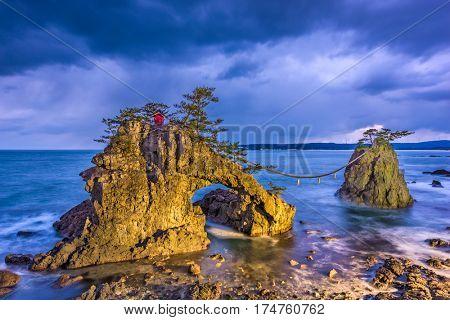 Hatago Iwa rock on the Noto Peninsula in Japan.
