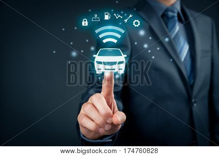 Intelligent car, intelligent vehicle and smart cars concept. Symbol of the car and information via wireless communication about security parking location fuel drive analysis service and car settings.