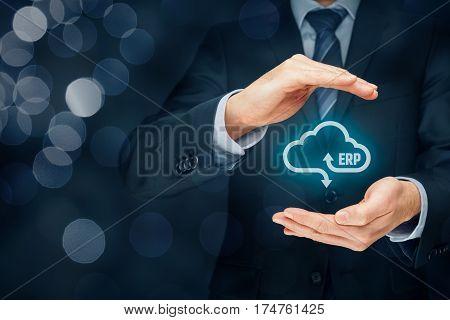 Enterprise resource planning ERP as cloud service concept. Businessman offer ERP business management software as cloud computing service.
