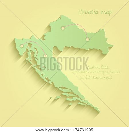 Croatia map yellow green vector template outline