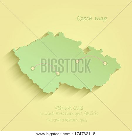 Czech map yellow green vector template outline