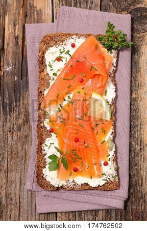 sandwich with smoked salmon and cheese