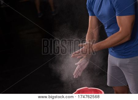 Gym Chalk Magnesium Carbonate hands clapping man for climbing workout