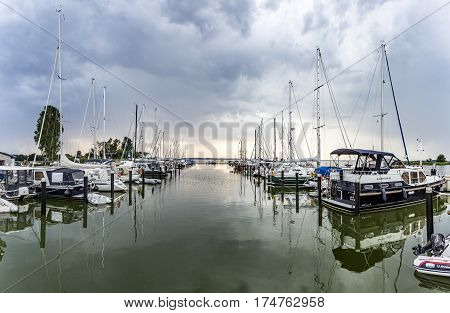 ZEMPIN GERMANY - AUG 8 2015: harbor at backwater in Zempin at the island of Usedom Germany