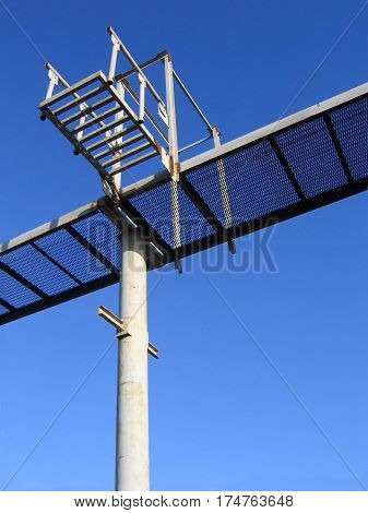 Part of the metal structure on a blue sky background